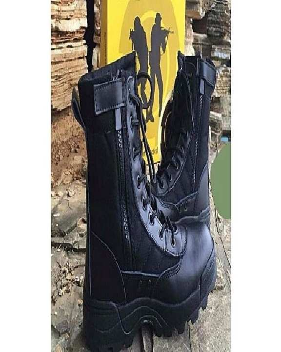 Black Leather Long Boots For Men