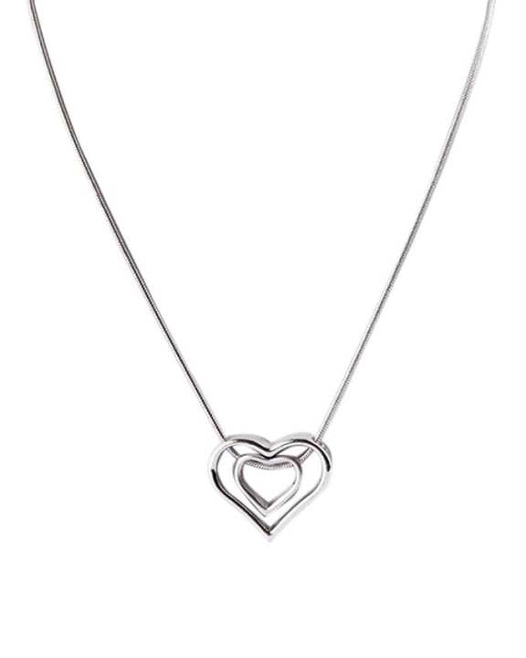 Silver Stainless Steel Double Heart Locket For Women