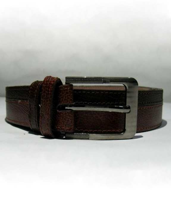 Brown & Dark Brown Two Tone Offset Leather Belt for Men - TTS005