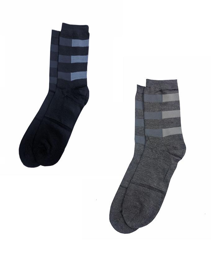 Pack of 2 - Grey & Blue Cotton Socks for Men