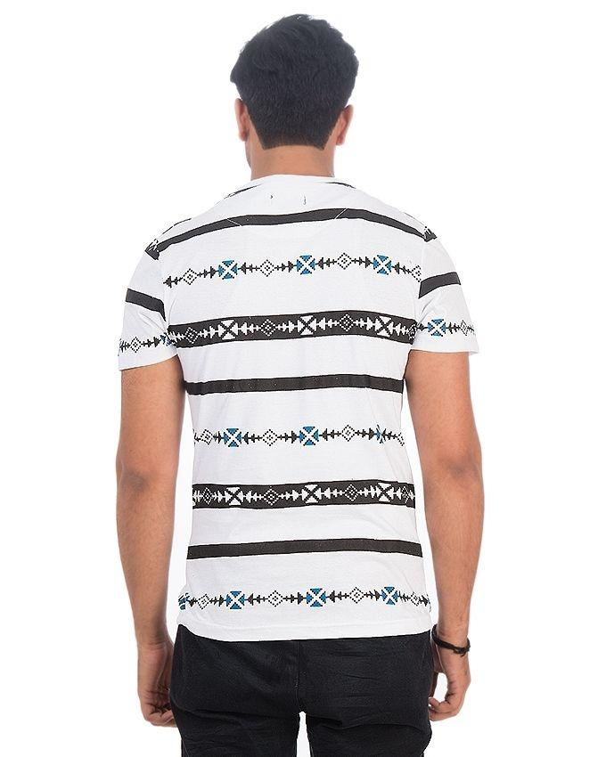 White Jersey Printed Tshirt For Men