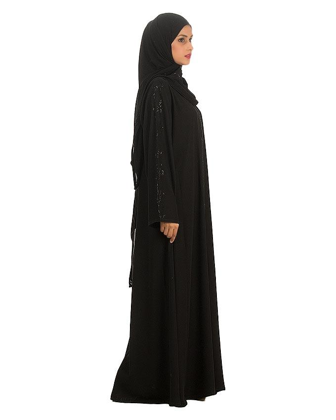 Black Polyester & Wool Stone Worked Abaya For Women - 0121-C-876