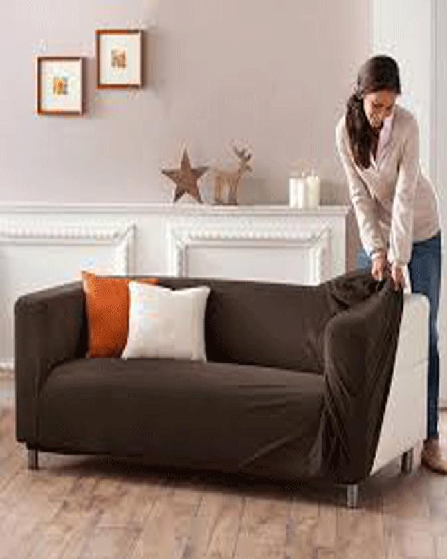Stretch Fitted Sofa Cover 5 Seater Dark Brown Buy Online At Best