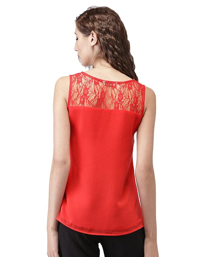 Red Chiffon Pleated Top For Women