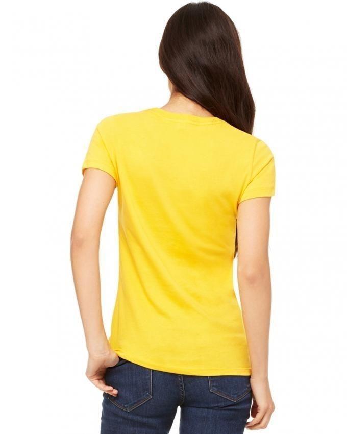 Yellow Cotton Printed T-Shirt for Women