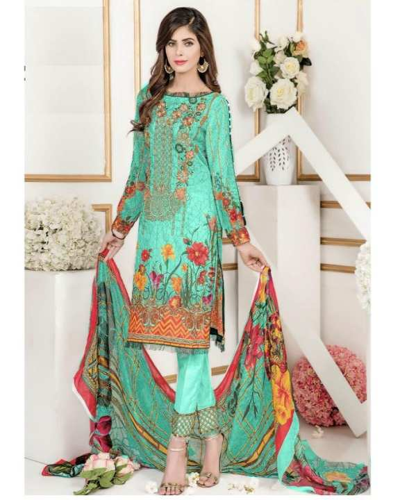 Sea Green Floret Embroidery Lawn Unstitched Suit For Women - 3 Piece