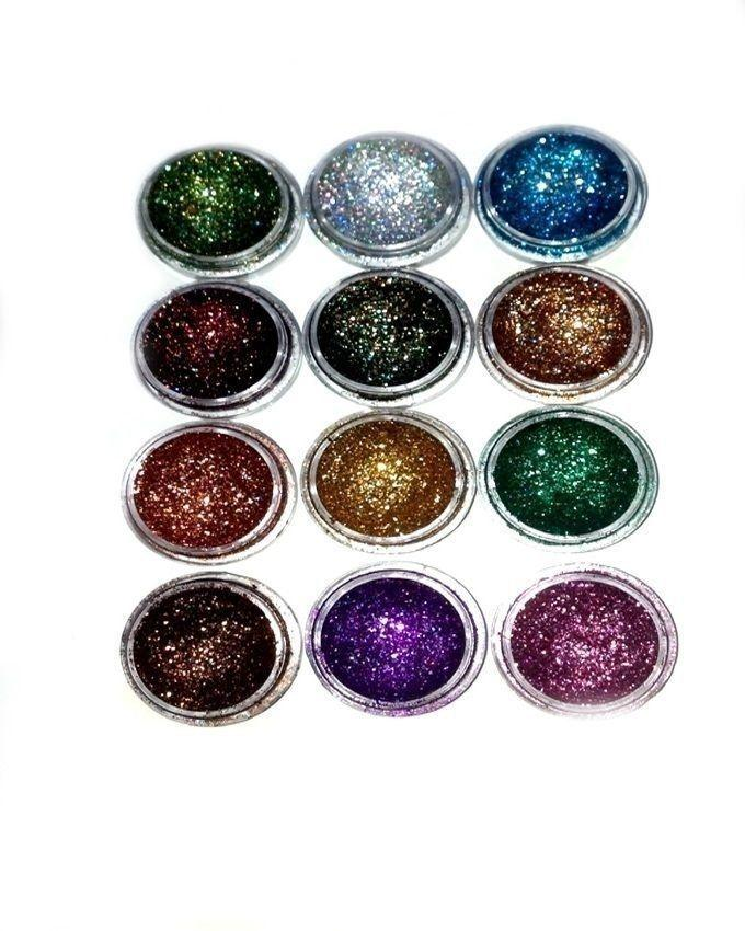 Pack of 12 - Dusty Glitter Eye Shadows - Multi Color