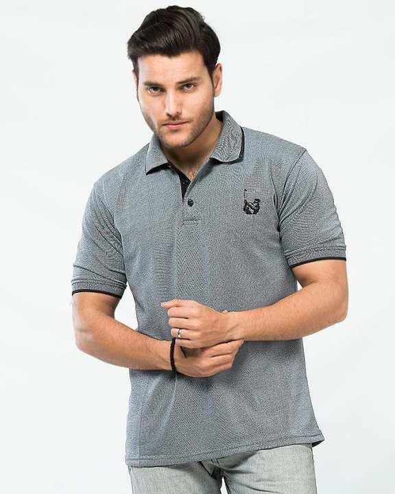 Grey Pique Golf Polo For Men