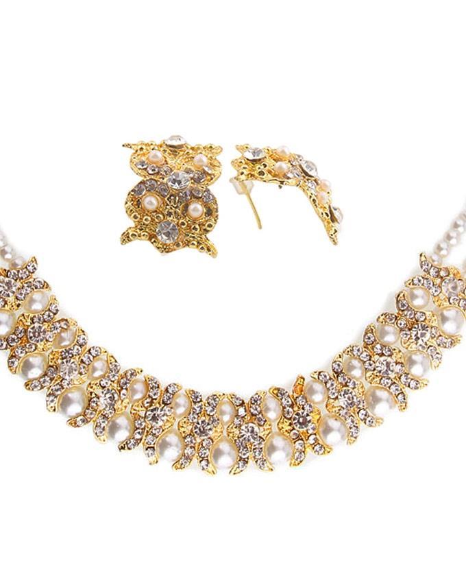 Golden Pearl Jewellery Set For Women