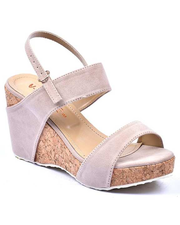 Beige Leather Wedge Sandals for Women