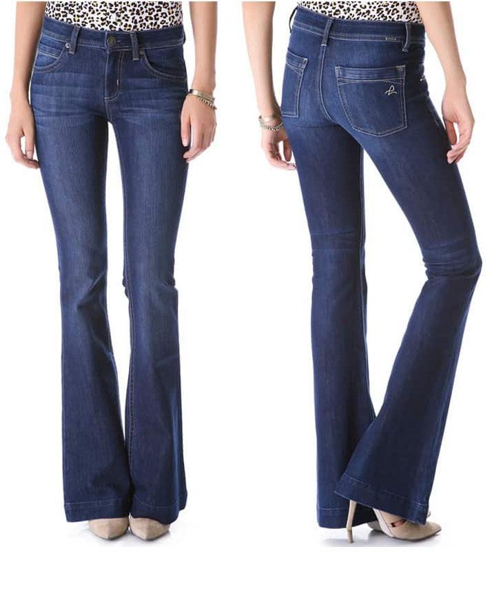 Womens Dark Blue Bell Bottoms Jeans