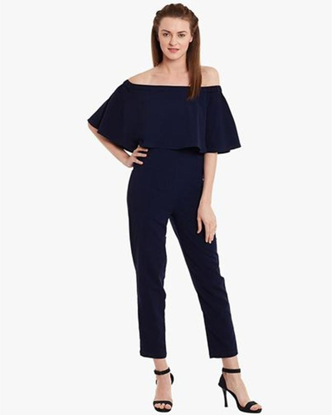 016a6a5fa7f Navy Blue Chiffon Off Shoulders Jumpsuit for Her