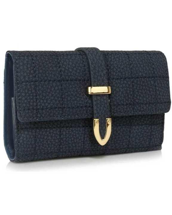 Navy Flap Top Purse Wallet For Women - LSP1075