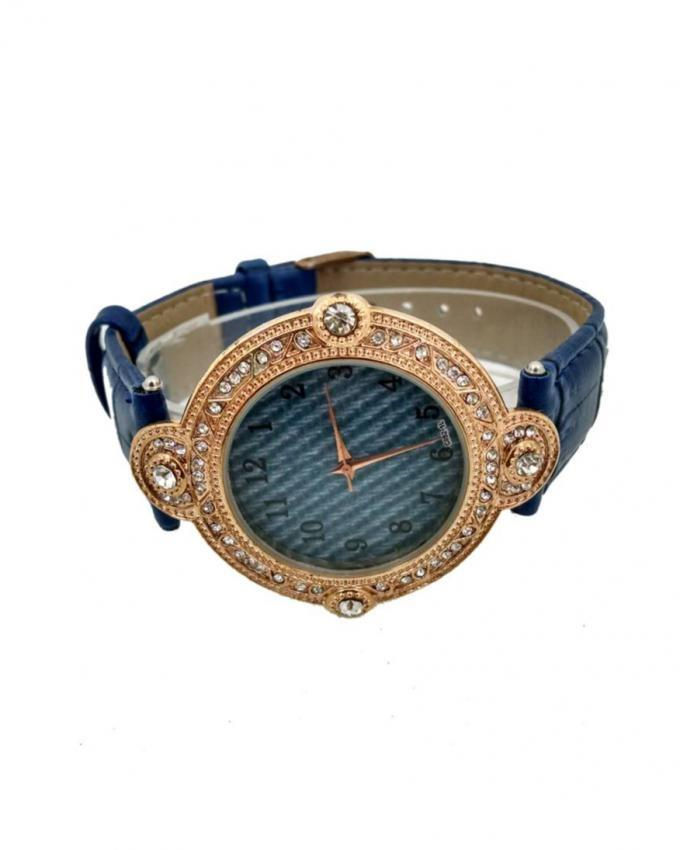 Blue & Golden Leather Analog Watch for Women