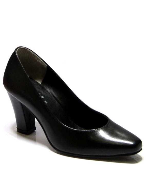 Black Leather Heel Pumps - 086-2201 - US Size
