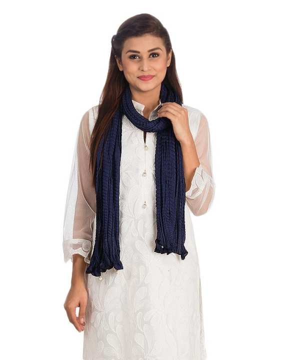 Navy Blue Cotton Crush Dupatta with Corner Pearls for Women - NS 270
