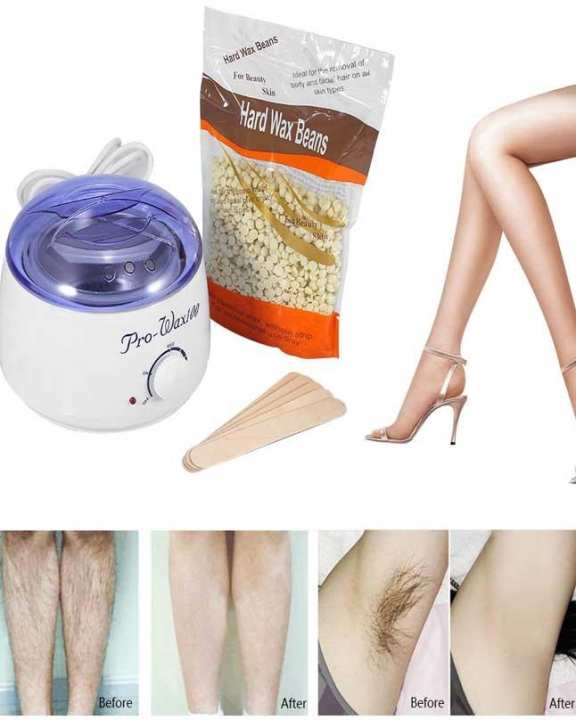 Hair Removal Kit Wax Heater + 100Gm Hard Wax Beans + 5 Sticks