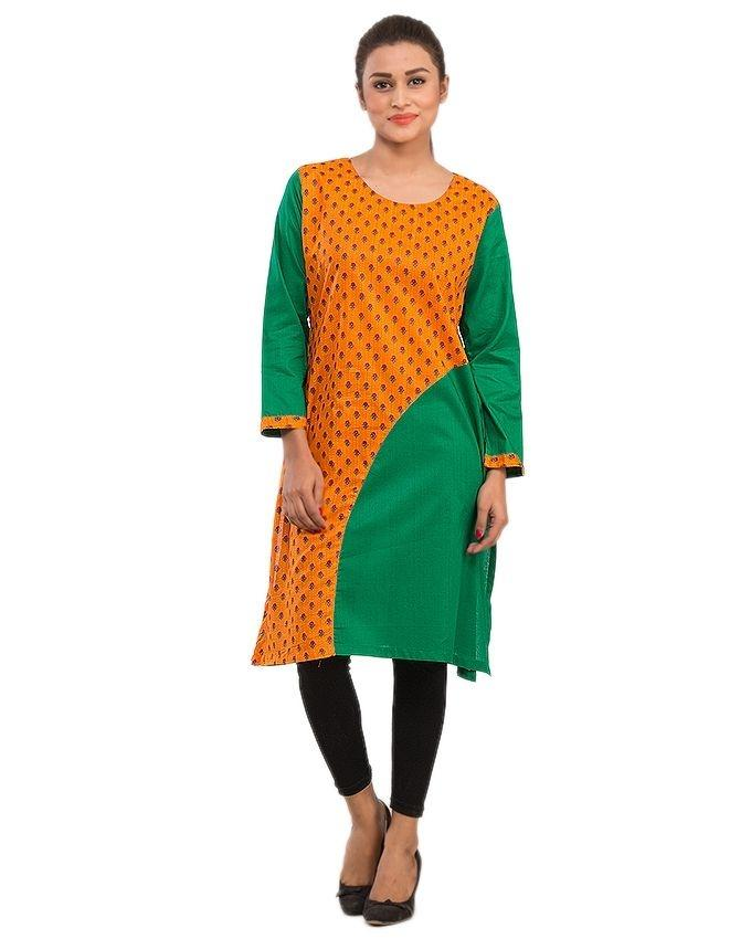 Women Kurta with Solid/Printed Fabric Combination