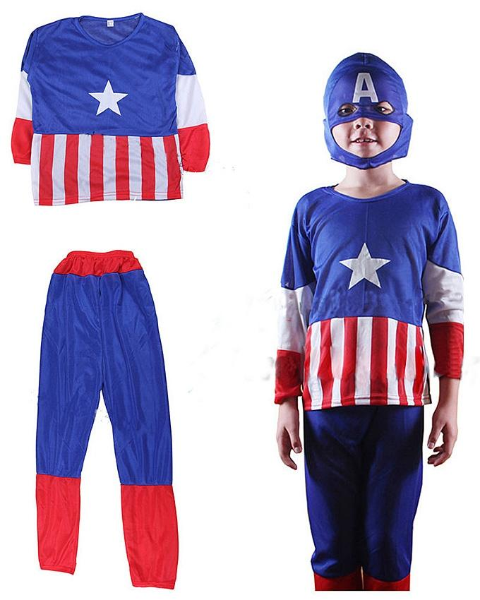 Multicolor Polyester Captain America Costume Dress for Kids