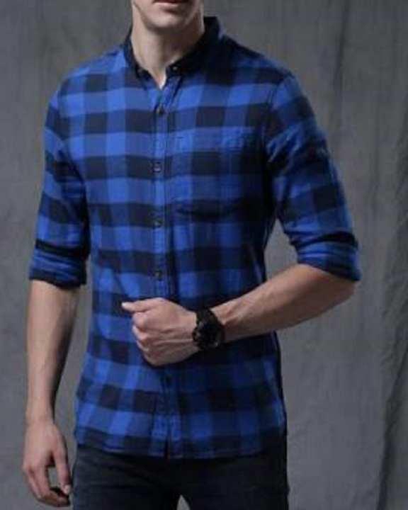 Royal Blue & Black Check Casual / Fancy Cotton Shirt For Men'S