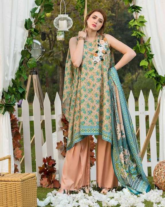 Peach Printed 3Pcs- Unstitched  Lawn For Women