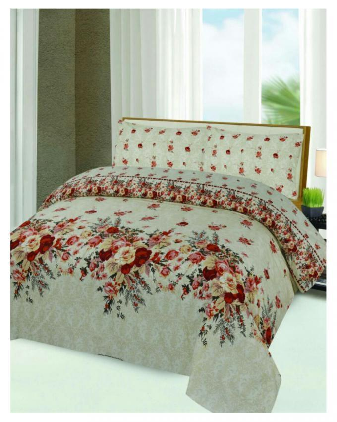 Multicolor Cotton King Size Bedsheet with Pillow Covers