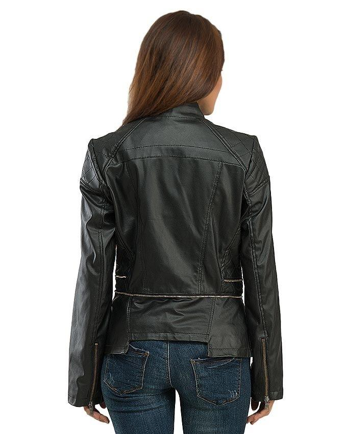 Black Slim Fit Leather Jacket For Womens