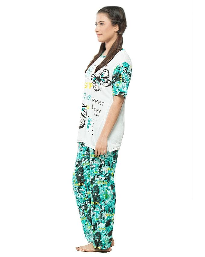 Green & White Jersey Night Suit for Women