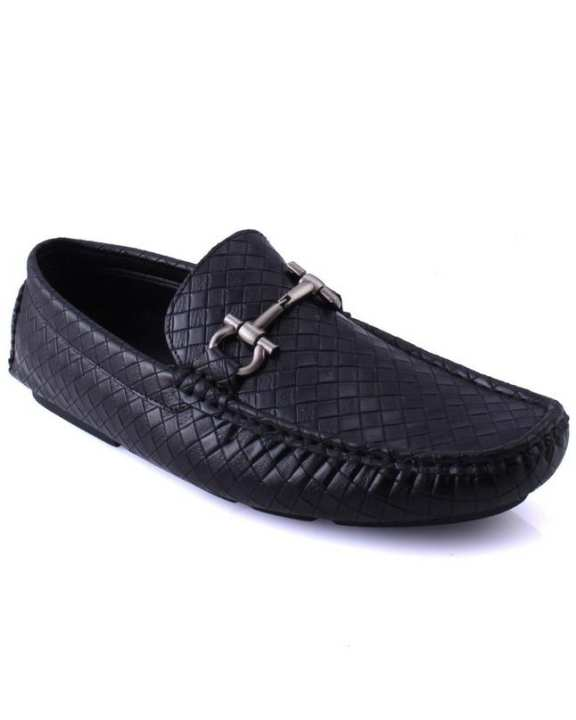 """Black Men's """"NEIL"""" Metallic Buckle Accented Penny Loafers Shoes-GS6027"""