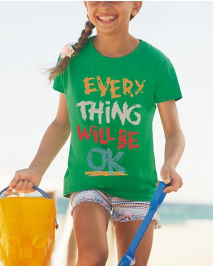 Green Every Think Will Be Ok Printed Tshirt
