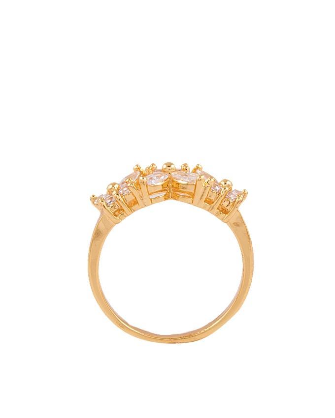 Golden Zircon & Alloy Studded Ring for Women - M-17