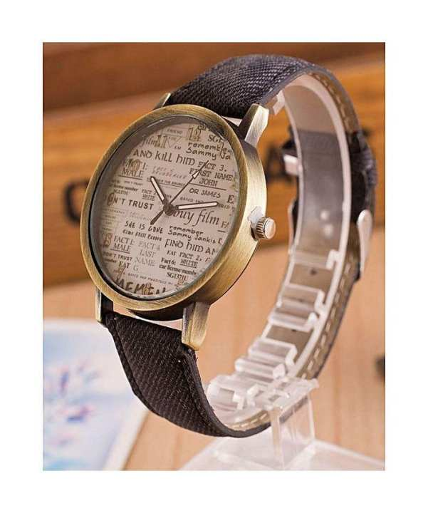 Leather Jeans Party Wear Gift Vintage Casual Newspaper Analog School College Watch Unisex