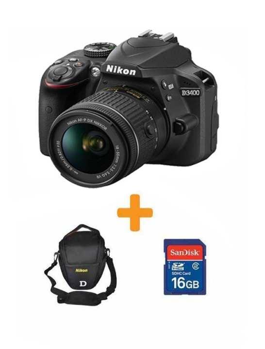 D3400 - DSLR Camera - 24.2 MP 18-55- 16GB card- Bag BLK