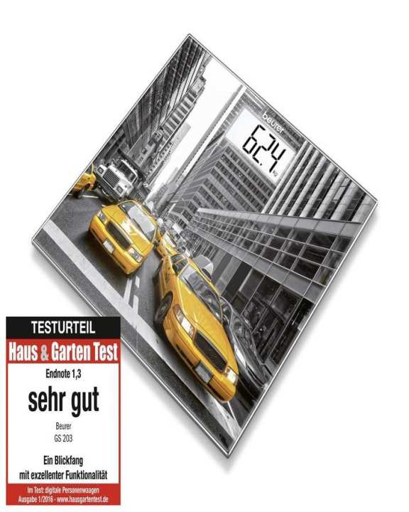 GS 203 - Glass Weighing Scale - Grey & Yellow