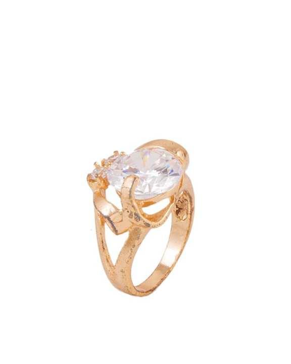 Golden Zircon & Alloy Studded Ring for Women - AK-7