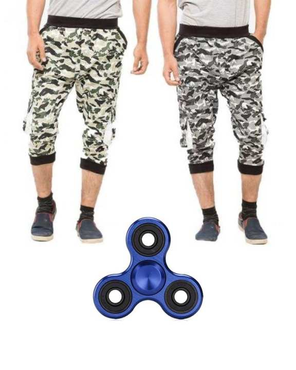 Pack of 2 - Multicolor Cotton Commando Printed Shorts - With Fidget Spinner