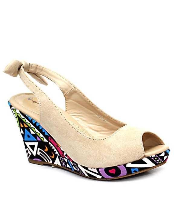 Beige Fashionable Peep Toe Wedge for Women