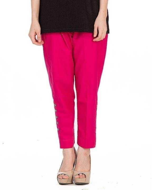 Pink Cotton Cigarette Pants For Women