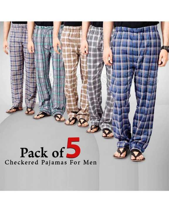 Pack Of 5 - Multicolor Cotton Mix Checkered Pajamas For Men