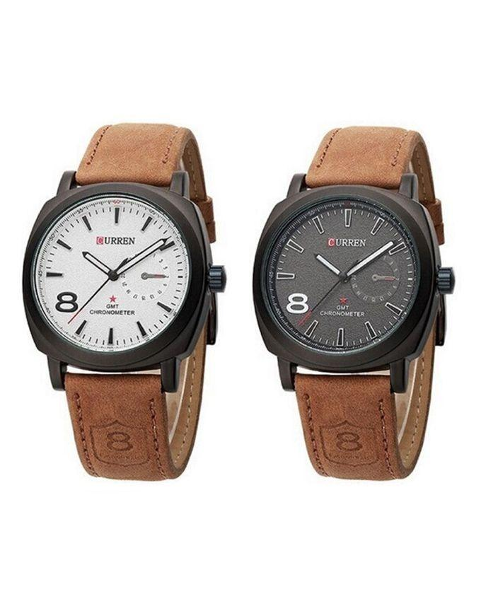 Pack of 2 - Brown Leather Strap Analog Watches for Men