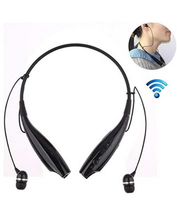 Bluetooth Stereo Headset With Mic Neckband Wireless In-Ear Headphone Earphone With Calling Function - Black