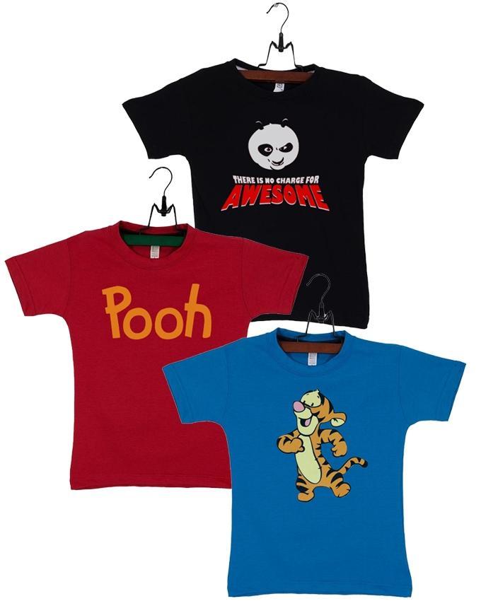 Pack Of 3 Kanfu Panda Kids T-shirt Combo
