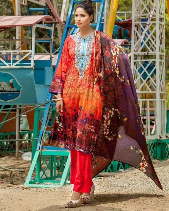 L Amber Linen Unstitched Suit for Women - 3Pcs