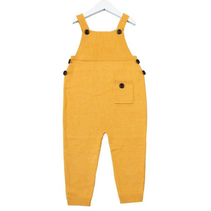Autumn Unisex Baby Pocket Knitted Rompers Overalls Jumpsuits for Boys Girls yellow 5Y