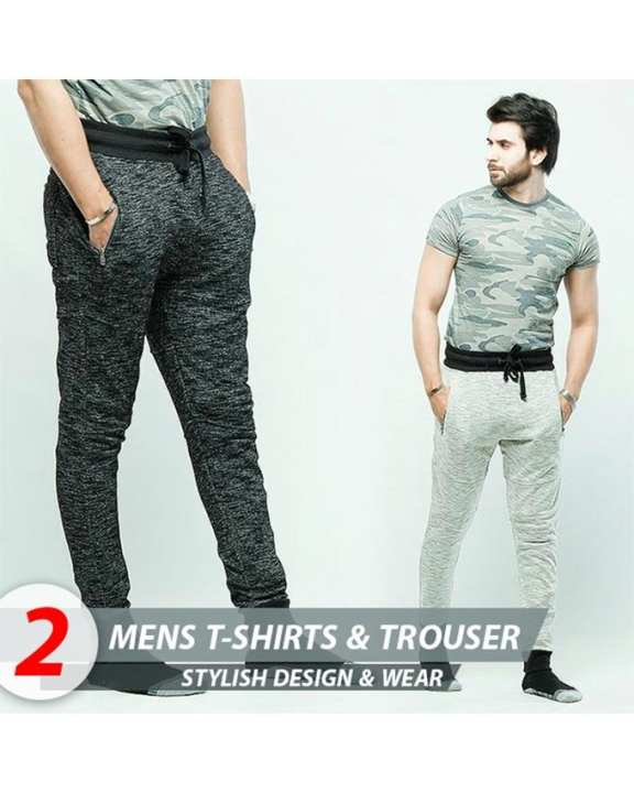 Pack of 3 Trousers & T-shirt For Men