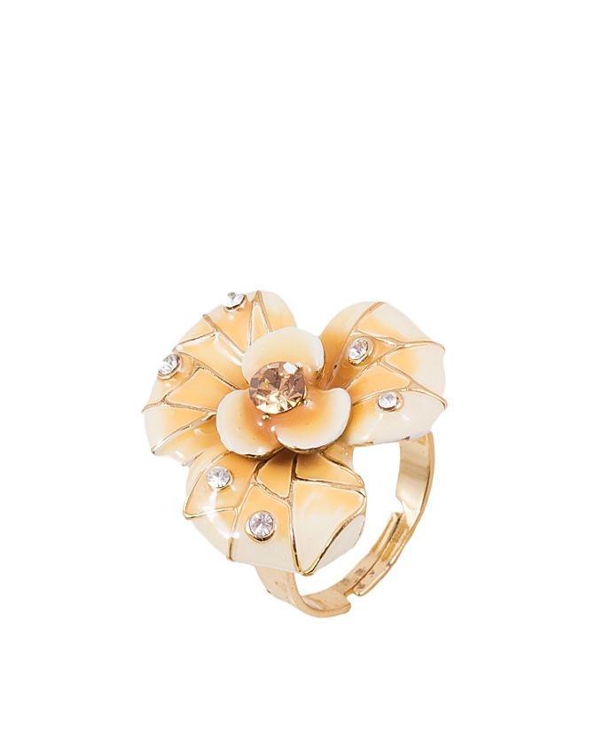 Champagne Enamelled Flower Ring