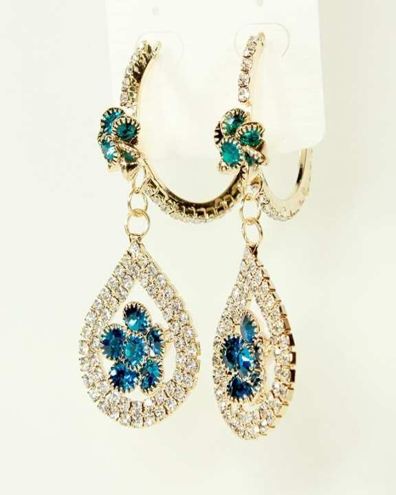 New Stylish Golden Earrings With White & Blue Stones for Her
