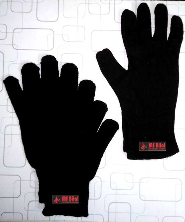 Gloves Pair Wool Acrylic Winter for Men and Women Black