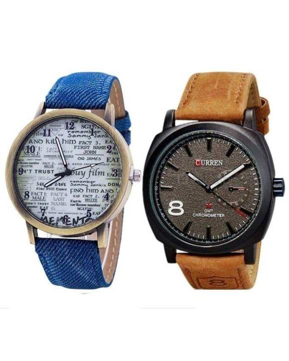 Pack of 2 - Brown & Blue Leather Analog Watch For Men
