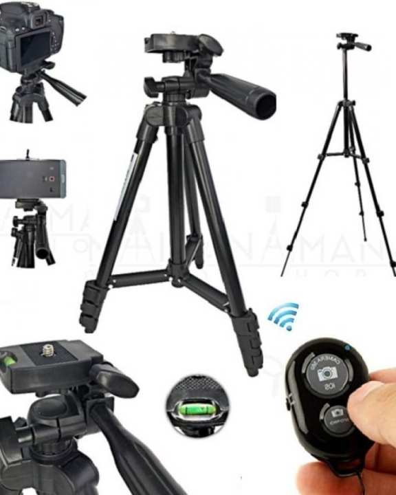 Professional 4 Step Folding Tripod For DSLR & Smart Phone With Free Bluetooth Remote & Mobile Holder